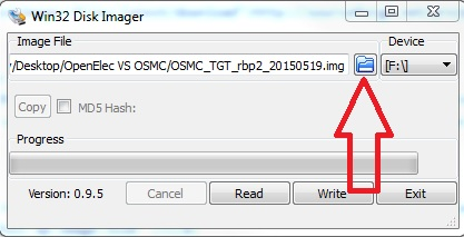 write OSMC image file to sd card