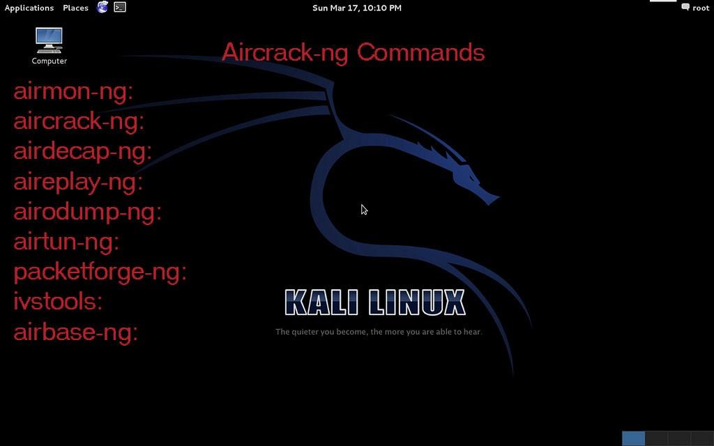 Kali Linux aircrack-ng commands