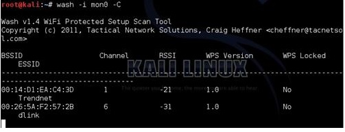 Kali linux and the wash command