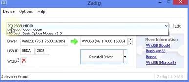 SDR# zadig driver setup