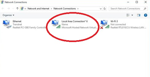 New created Hosted network windows 10