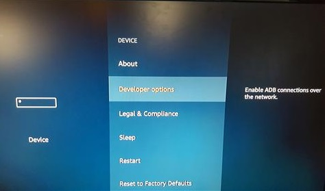 Devloper Options fire tv stick