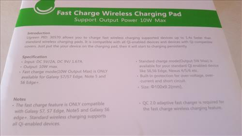Review Ugreen QI Fast Wireless Charger Pad Back