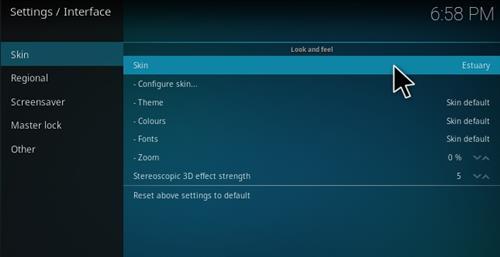 How To Change Kodi 17 Krypton Estuary Skin To Kodi 16 Confluence Pic 4