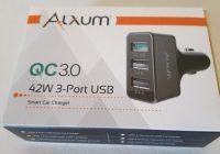 Review Alxum Aluminum 3 Ports USB Smart Car Quick Charge 3.0