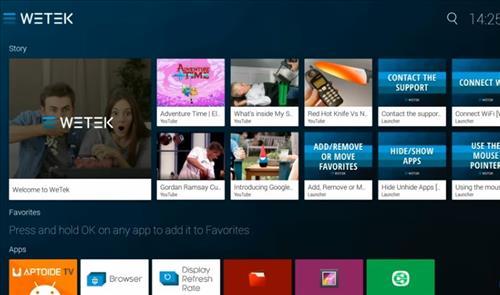 Review WeTek Play 2 ATSC Hybrid Home Screen