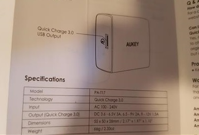 Review AUKEY PA-T17 Quick Charge 3.0 USB Wall Charger Specs