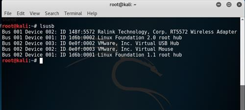 Review Panda PAU9 Kali Linux VMware Test lsusb