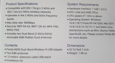 Review Panda Wireless PAU09 N600 Dual Band WiFi Dongle Sepcifications