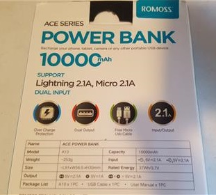 Review ROMOSS A10 Compact 10000mAh USB Power Bank Portable Charger Specs