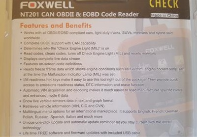 Review Foxwell NT201 OBDII Code Scanner Features