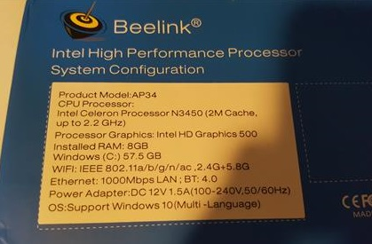 Review Beelink AP34 Ultimate Windows 10 Mini PC Specs