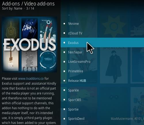 how to add on exodus on kodi mac