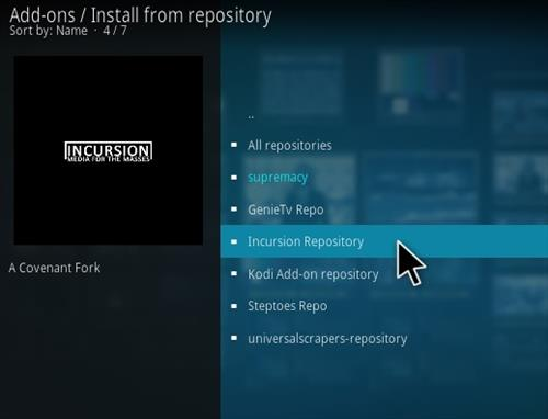 How to Install Incursion Kodi Add-on New 2018 Step 17
