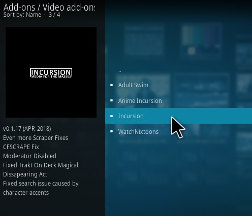 How to Install Incursion Kodi Add-on New 2018 Step 19