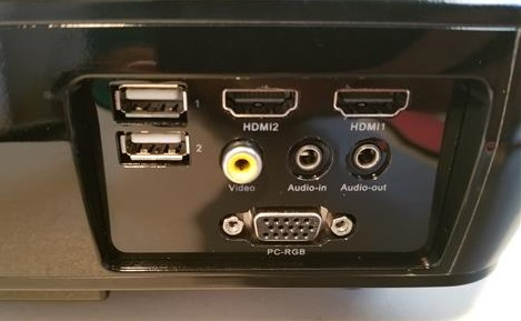 Review Tenker 33-06 HD 1080p Video Projector Ports