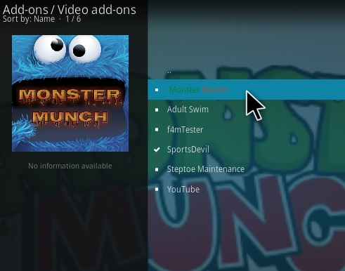 Monster munch on kodi leia version 18