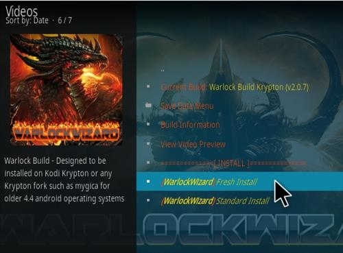 How To Install Warlock Kodi Build Step 16