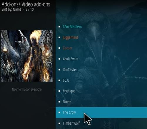 Steps To Install Crow Kodi Addon Step 18