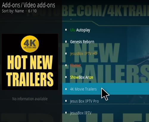 How To Install 4K Movie Trailers Kodi Addon Step 17