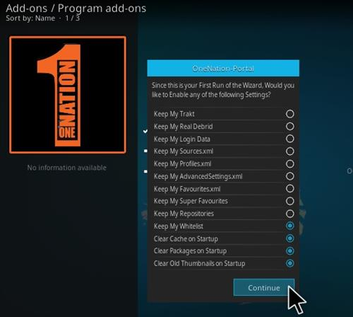 How to Install Continuum Kodi Build Step 19