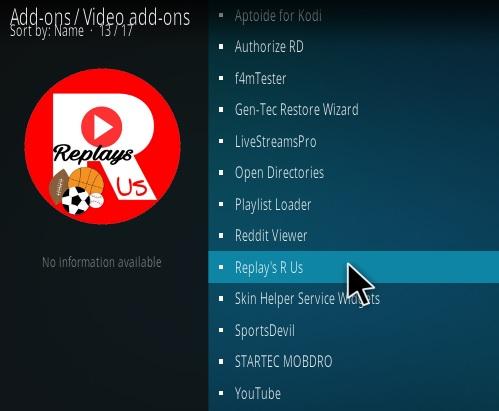 How to Install Sports Replay's R Us Kodi Addon | WirelesSHack