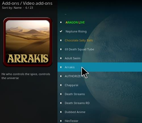 How To Install ARRAKIS Kodi Addon Step 17