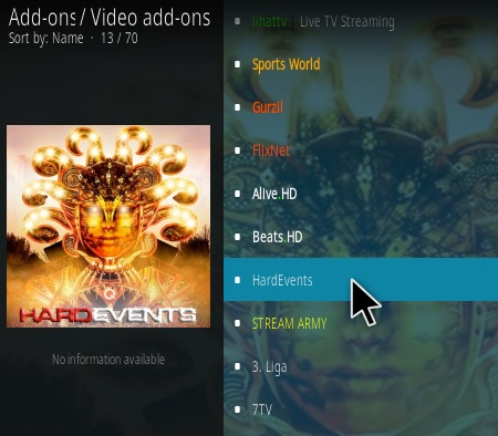 How To Install Hard Events Kodi Addon Step 16