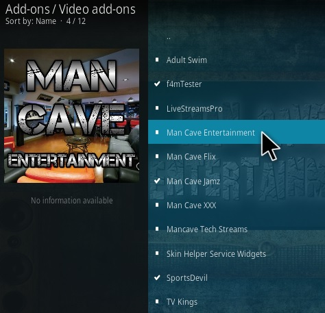 How To Install Man Cave Entertainment Kodi Addon Step 18