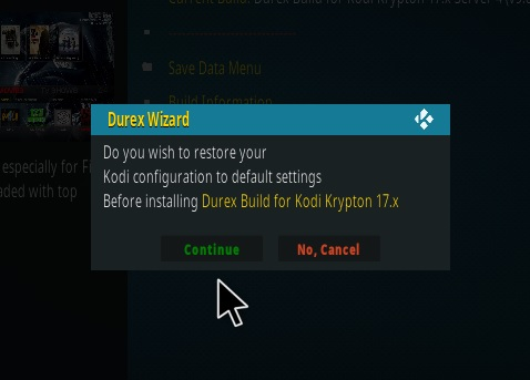 How to Install Durex Kodi Build Step 19