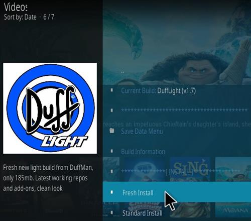 How To Install Duff Light Kodi Build Step 18