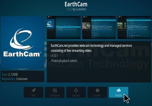 How To Install Earth Cam Kodi Live Stream Addon Step 7