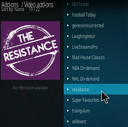 How To Install Resistance Kodi Addon Step 17