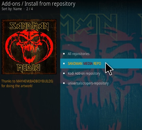 How To Install New Sandman repo and Kodi Addons Step 15