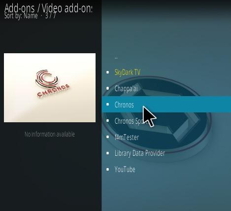 How To Install Chronos Live TV Addon Step 17