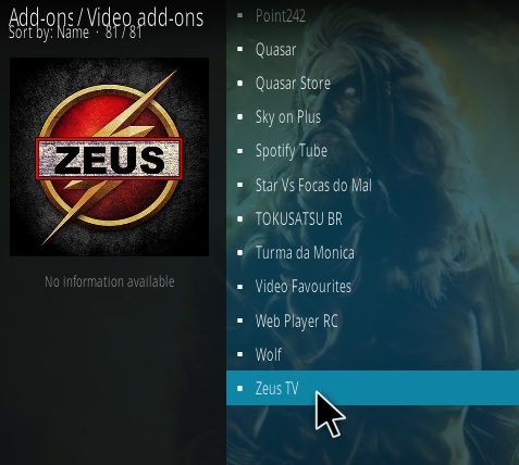 How To Install Zeus Live TV Kodi Addon updated Step 17