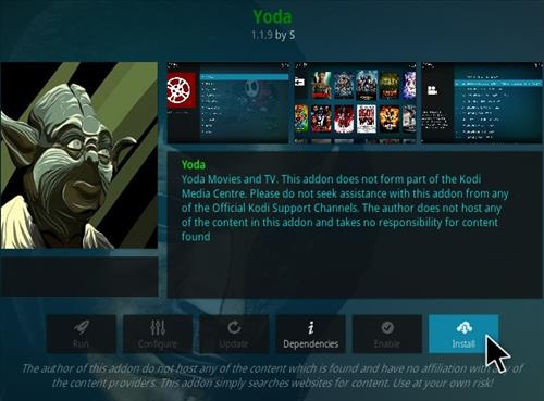 Steps To Install Yoda Add-on Kodi 18 Leia Step 18