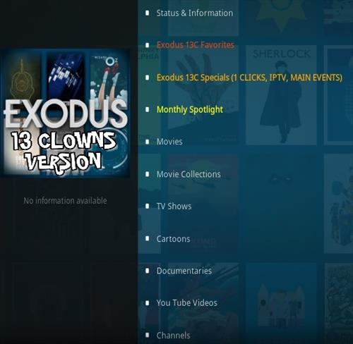 How To Install Exodus 13 Clowns Version 13C Kodi Addon Overview
