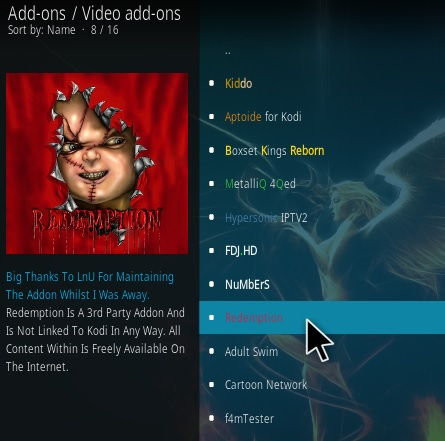 How To Install Redemption Kodi Addon Step 17