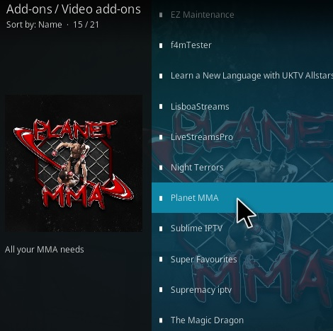 How To Install Planet MMA Kodi Addon Step 17