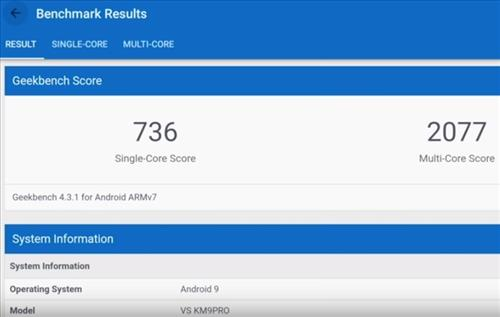 Review MECOOL KM9 Pro Android 9.0 TV Box S905X2 4GB RAM Geek Bench Score