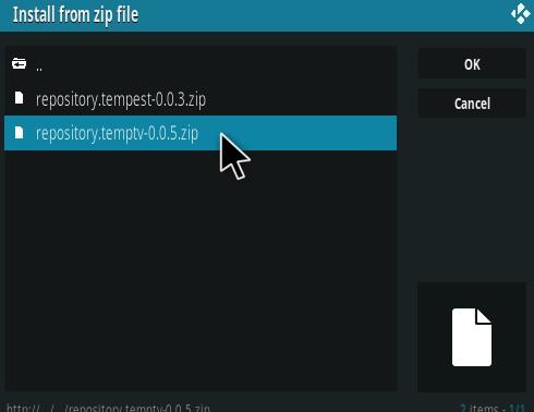 How To Install TEMPTV Kodi Addon Step 12