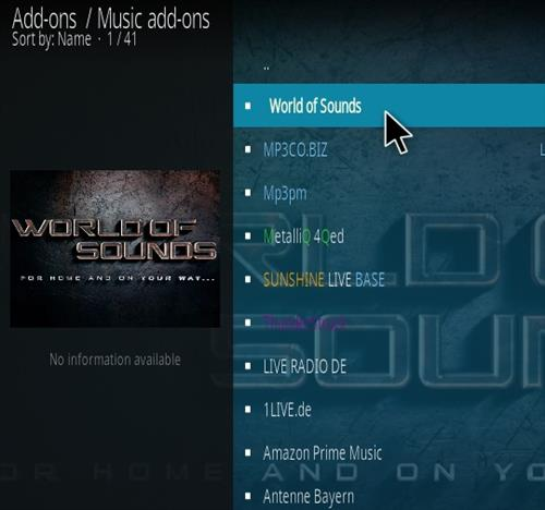 How To Install World Of Sounds Kodi Music Addon Step 17