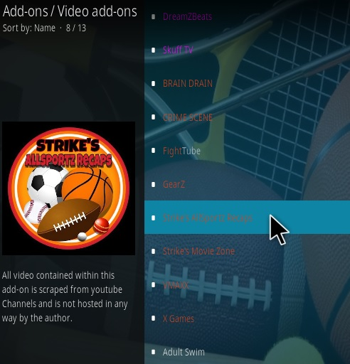 How to Install Strike's AllSportz Recaps Kodi Add-on Updated Step 17