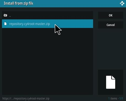 How To Install CY4root Kodi Repo Step 12
