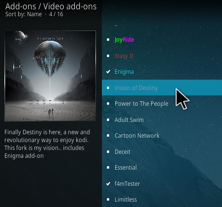 How To Install Versions of Destiny Kodi Addon Step 17