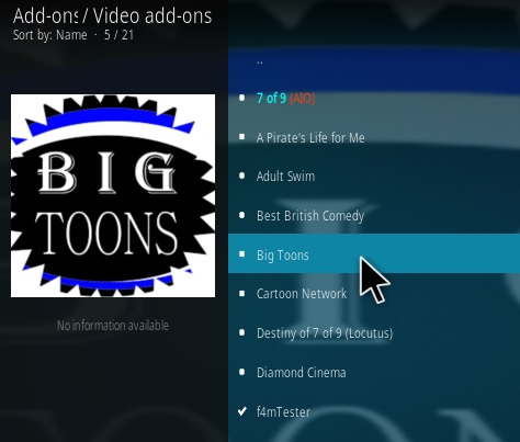 How To Install Big Toons Kodi Addon Step 18