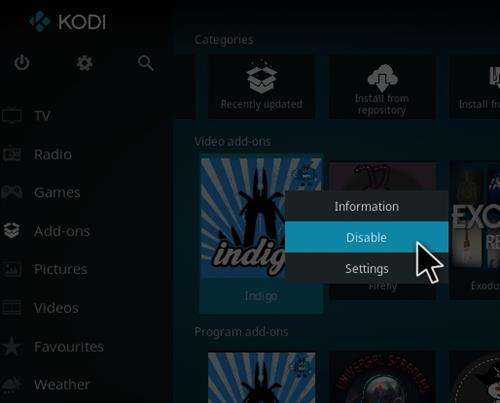 How To Disable Indigo Kodi Addon