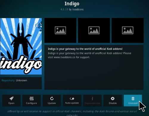 How To Uninstall Indigo Kodi Addon