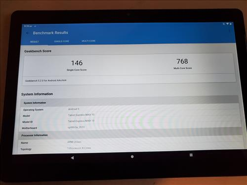 Review Dragon Touch MAX 10 Tablet Octa-Core Processor Geekbench 5 Test
